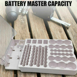 Battery Storage Organizer Holder with Tester - Battery Caddy Rack Case Box