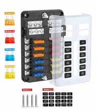 Load image into Gallery viewer, 12 Way Blade Fuse Auto Block Box Holder Indicator