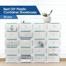 Load image into Gallery viewer, Stackable Foldable Clear Shoe Storage Cases Drawer Boxes Wardrobe 20pcs