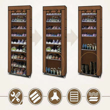 Load image into Gallery viewer, 10 Tier Shoes Cabinet Storage Organizer Shoe Rack With Cover