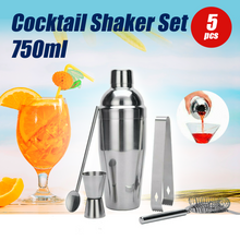 Load image into Gallery viewer, 5PCS Cocktail Shaker Set Kit Stainless Steel 750ml