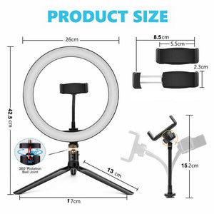 "10"" Phone Selfie LED Ring Light with Stand"
