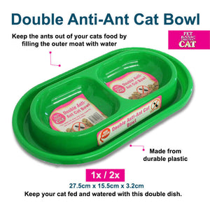 Cat Bowl Double Anti-Ant 27.5cm x 15.5cm x 3.2cm
