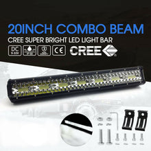 Load image into Gallery viewer, CREE LED Light Bar 20 inch Tri-row Spot Flood Combo Driving Offroad Truck