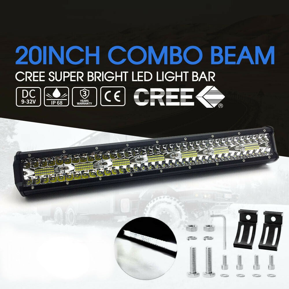 CREE LED Light Bar 20 inch Tri-row Spot Flood Combo Driving Offroad Truck