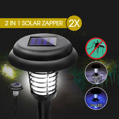 2x Solar UV Bug Zapper Mosquito Fly Insect Repeller Killer Garden Path LED Light