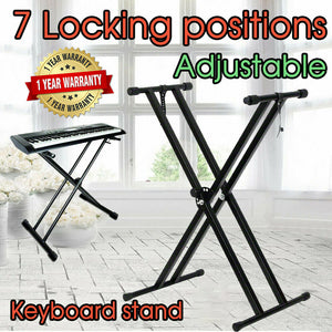Folding Double Braced Adjustable X Style Music Piano Keyboard Stand Height