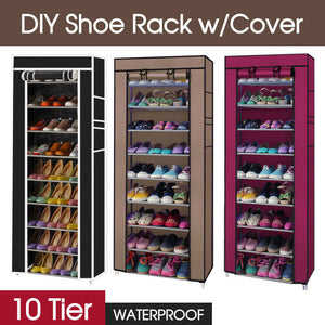 10 Tier Shoes Cabinet Storage Organizer Shoe Rack With Cover