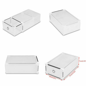 Stackable Foldable Clear Shoe Storage Cases Drawer Boxes Wardrobe 20pcs