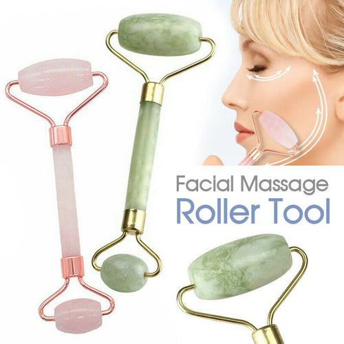 Facial Massage Roller Tool - Natural Quartz Crystal Stone Face Neck Beauty Tool