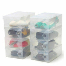 Load image into Gallery viewer, 20x Clear Shoe Storage Transparent Box Foldable Stackable Plastic Organizer