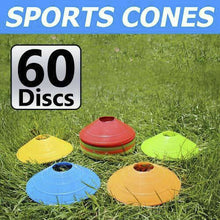Load image into Gallery viewer, 60 Pack Sports Training Discs Markers Cones Soccer Rugby Fitness Exercise