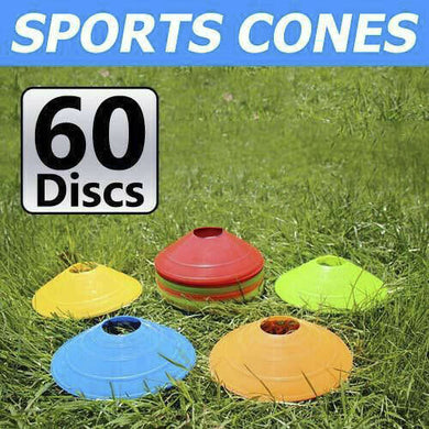 60 Pack Sports Training Discs Markers Cones Soccer Rugby Fitness Exercise