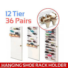 Load image into Gallery viewer, 36 Pairs Over The Door 12 Tiers Stackable Storage Shoe Rack Holder