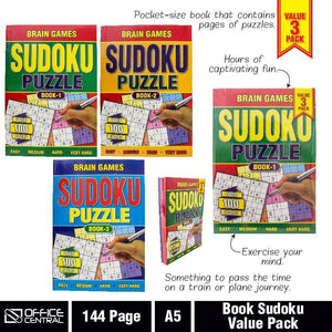 3x Brain Games A5 Sudoku 144pg Activity Books