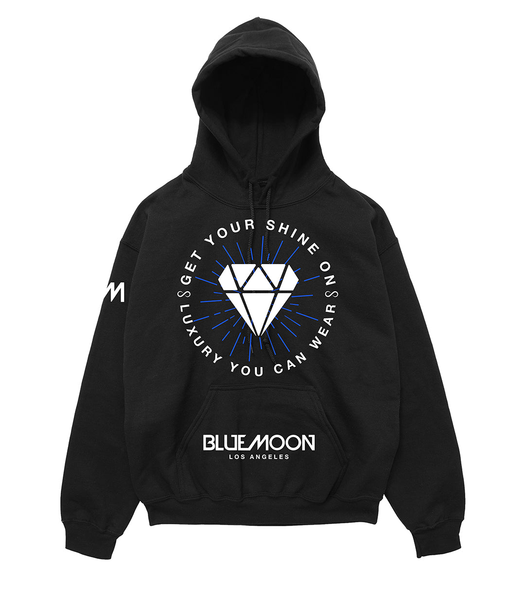 Black Hoodie with white diamond logo by Blue Moon & Co, Exclusive, Lifestyle
