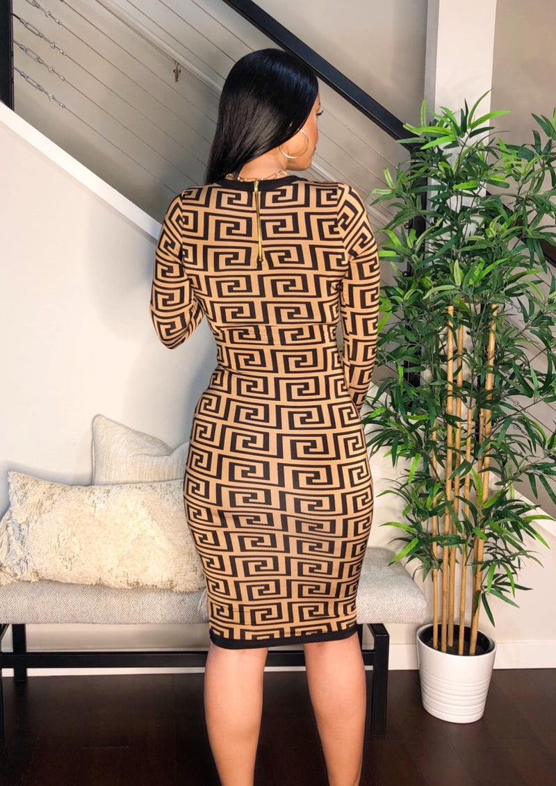 Swirl Printed Midi Dress