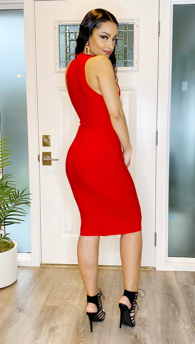 Red Sleeveless Midi Bandage Dress