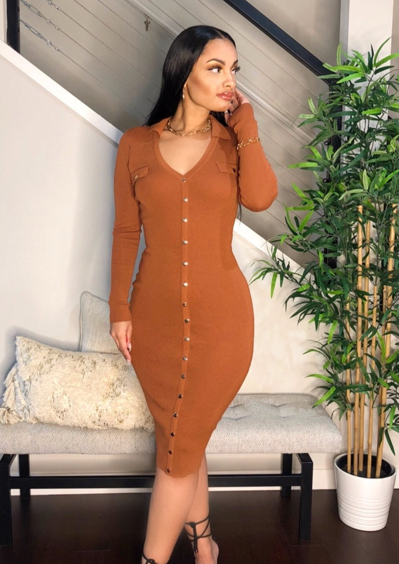 Gold Button Knit Midi Dress