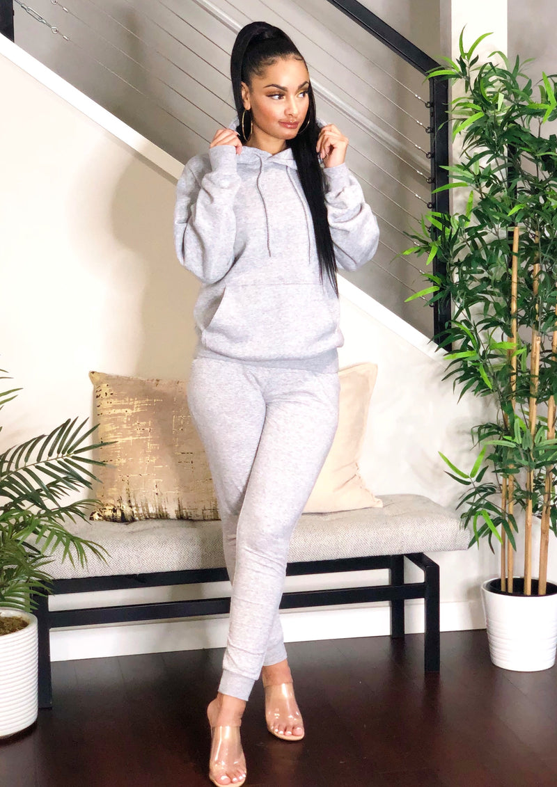 Cozy Hoodie Jogger Set (Heather Grey)
