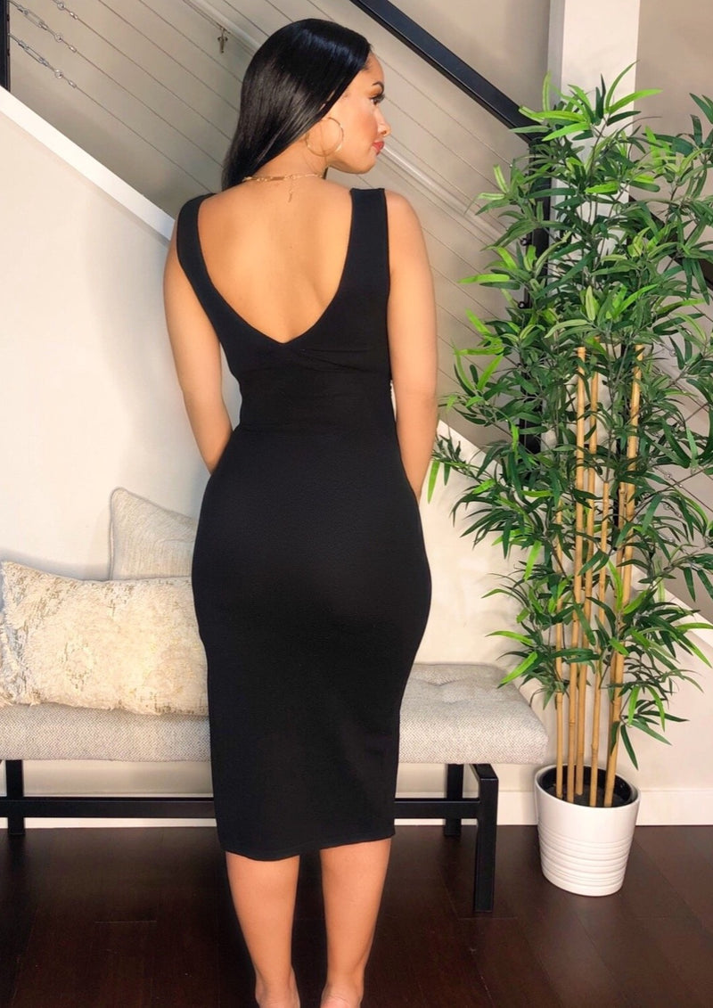 Black Knit Slit Midi Dress