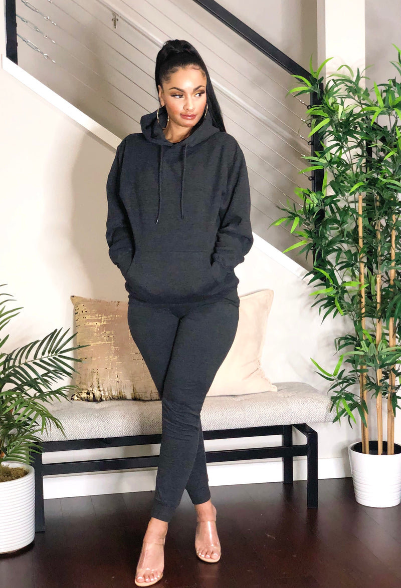 Cozy Hoodie Jogger Set (Charcoal Grey)