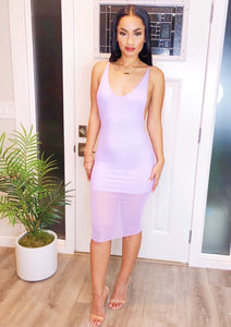 Sweet Lavender Mesh Midi Dress