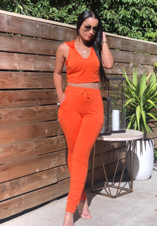 Orange Cropped Hoodie Pant Set