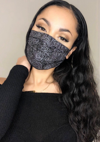 Black Roses Face Mask