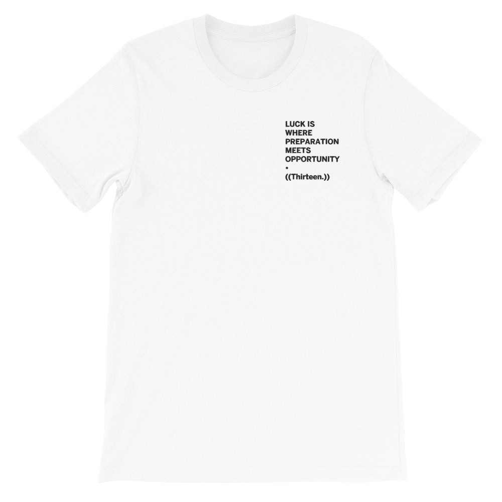 ((Thirteen.)) Embroidered  Short-Sleeve Unisex T-Shirt (White/Gray)
