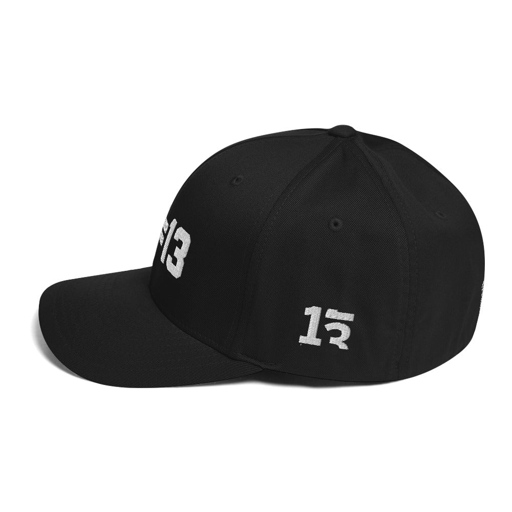 ((Thirteen.)) Embroidered Structured Twill Cap (Black/Navy/Gray/Red)