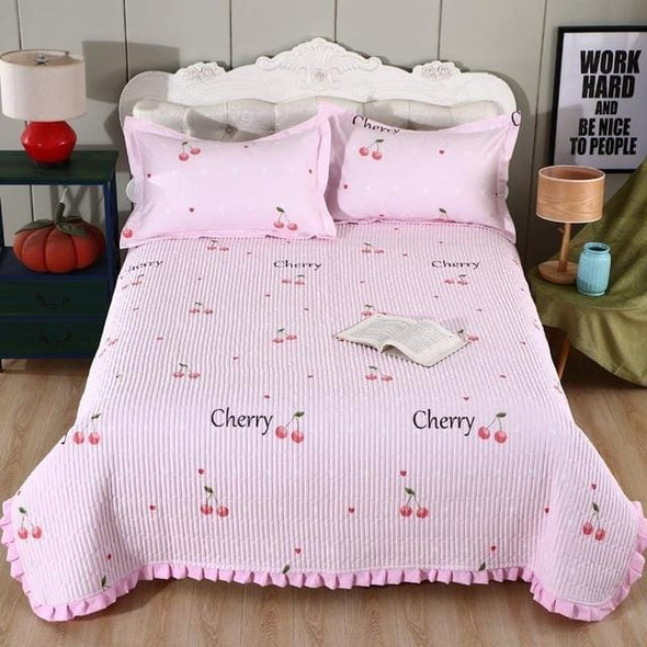 Multi-color Printed Twin Queen 3Pcs Bedspread Pillowcase Coverlet