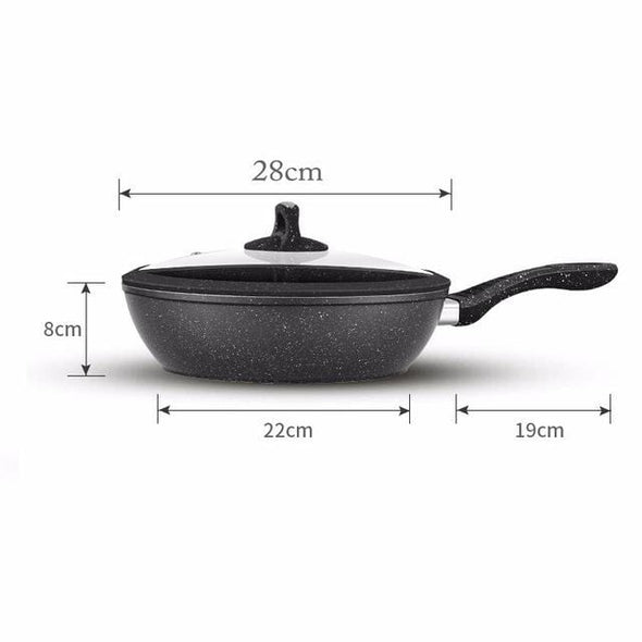 Non-stick Frying Pan Medical Stone Wok Coating Chef's Pan with Cover
