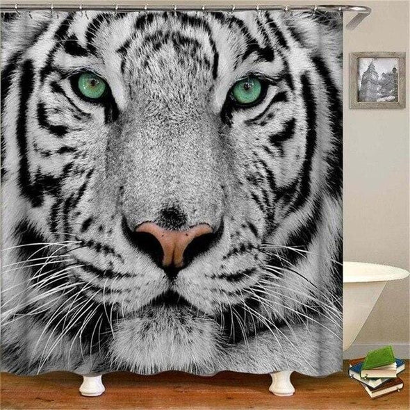 Animal Tiger Digital Printing Waterproof Polyester Shower Curtain
