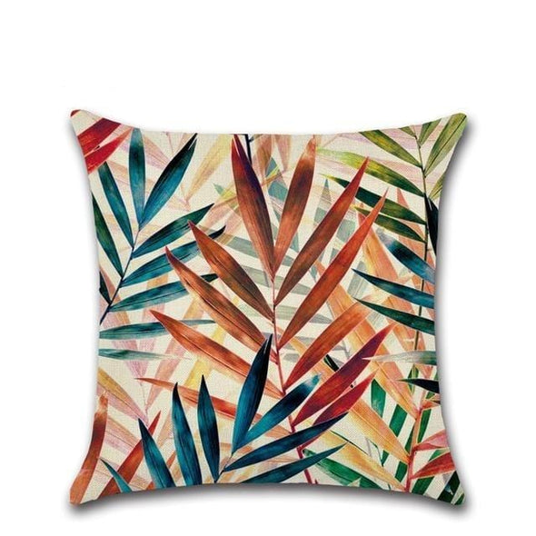 Tropical Plants Palm Leaf Green Leaves Pillow Case