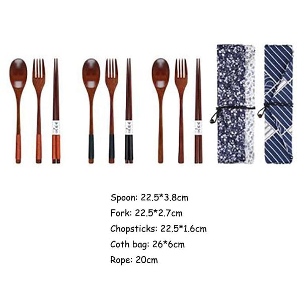 Tableware Spoon Fork Chopsticks with Cloth bag