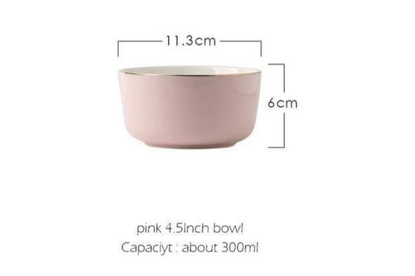 Simple Gray/Pink Ceramic Dinnerware