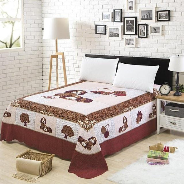 Chic Red Blossom Flowers Printed Watercolor Bed Sheet