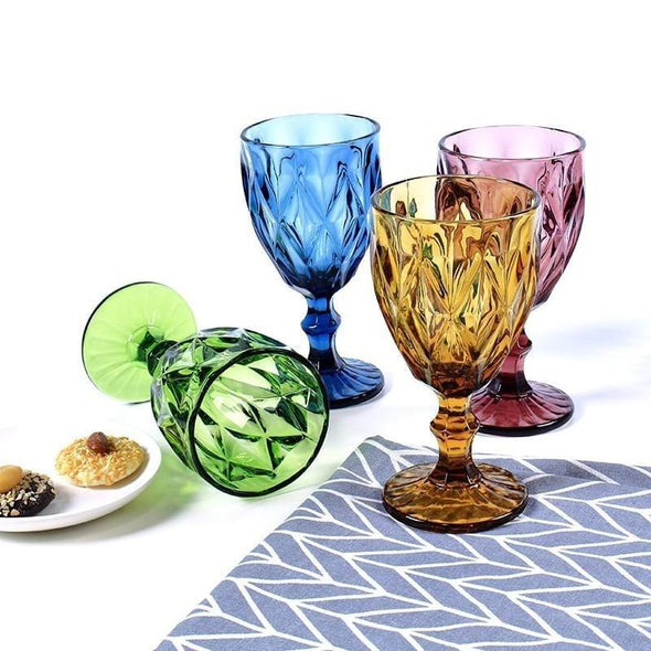 Retro Colorful Wine Glass