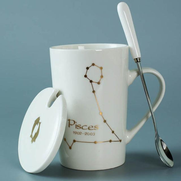 Creative Ceramic Mugs with Spoon Lid