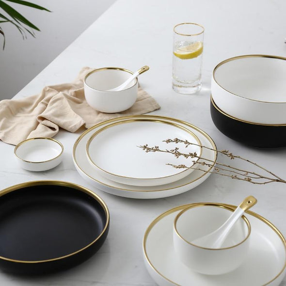 White And Black Round Gold Stroke Tableware