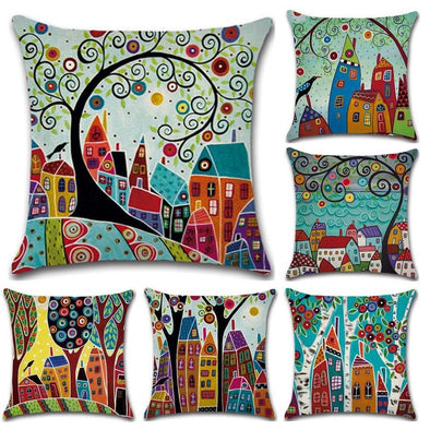 Retro Rural Color Cities Cushion Pillow Cover