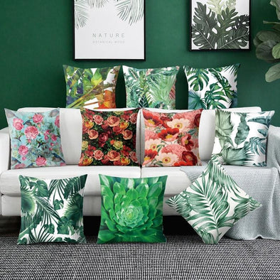 Flower Plant Throw Pillow Cushion Cover