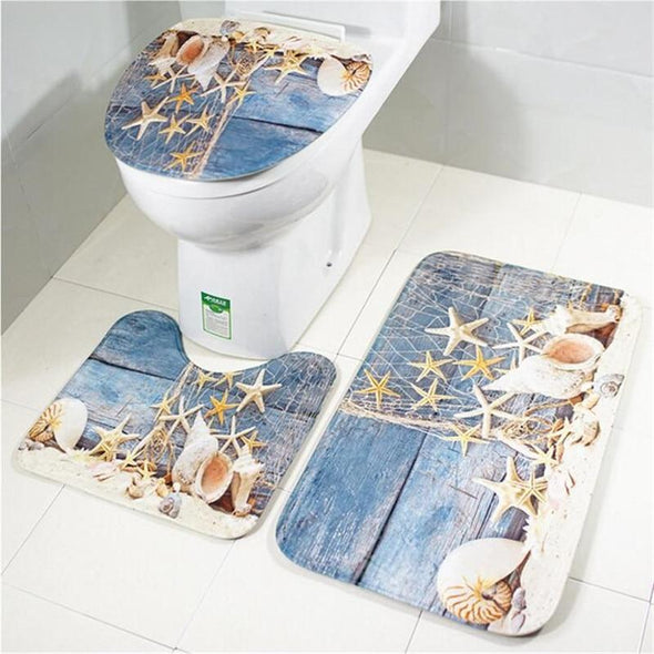 Marine Organisms Printing Toilet Cover and Rugs Non-Slip Bathroom Pad