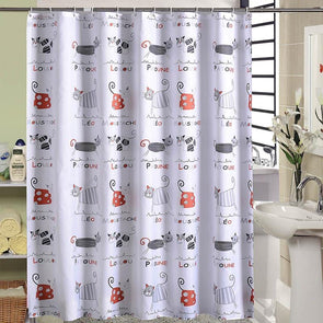 Cartoon Cat Printing Waterproof Bath Shower Curtain