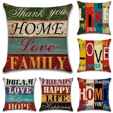 Vintage Hand-Painted Letters Cushion Cover