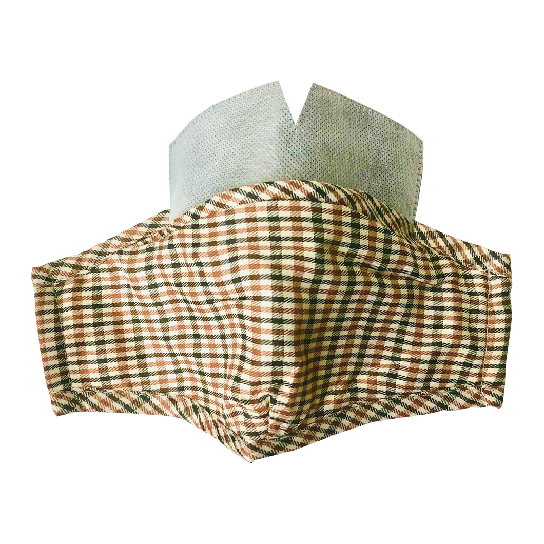 Carbon Filter Face Mask in Beige Plaid with Activated Carbon PM 2.5 Filter Insert