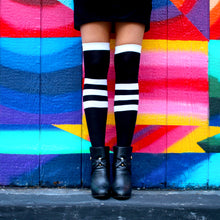 Load image into Gallery viewer, Black Striped Extra Long Thigh High Socks