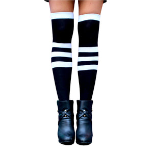 Black Striped Extra Long Thigh High Socks