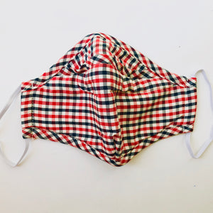 Carbon Filter Face Mask in Red & Blue Plaid with Activated Carbon PM 2.5 Filter Insert